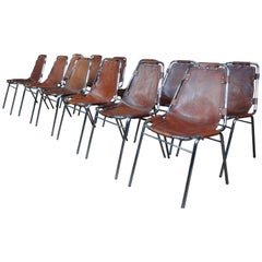 12 Les Arcs Dining Chairs Chosen by Charlotte Perriand for les Arcs France 1960s