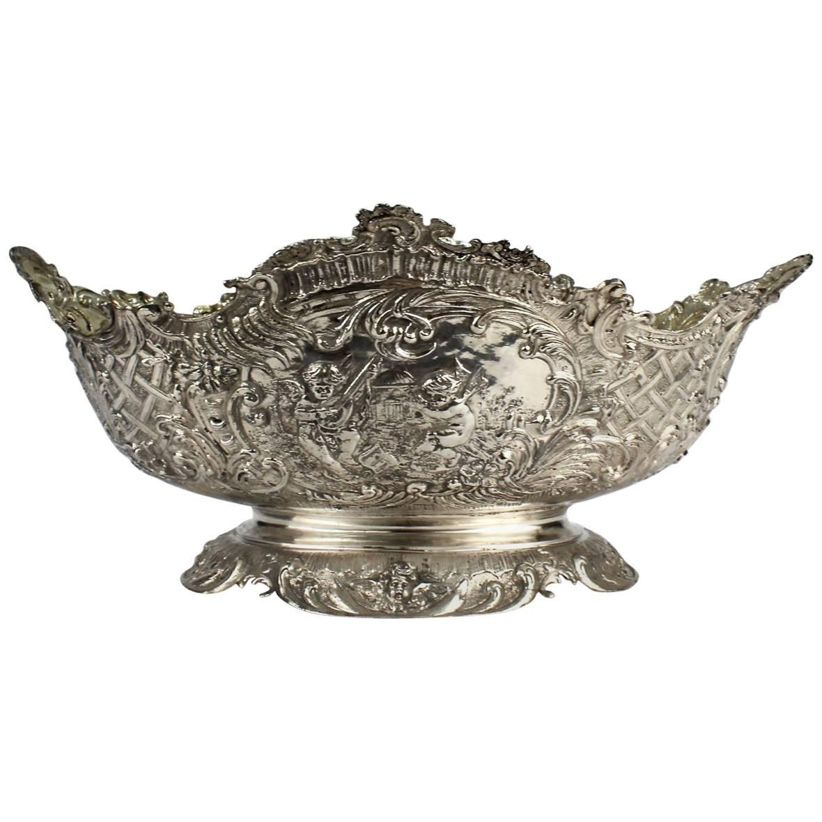 19th Century German Rococo Revival Repoussé 800 Silver Centerpiece or Bowl