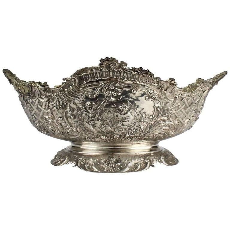 19th Century German Rococo Revival Repoussé 800 Silver Centerpiece or Bowl For Sale