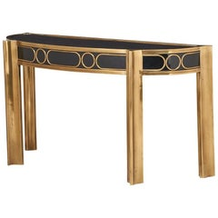Patinated Brass Console Table with Enameled Wood by Mastercraft