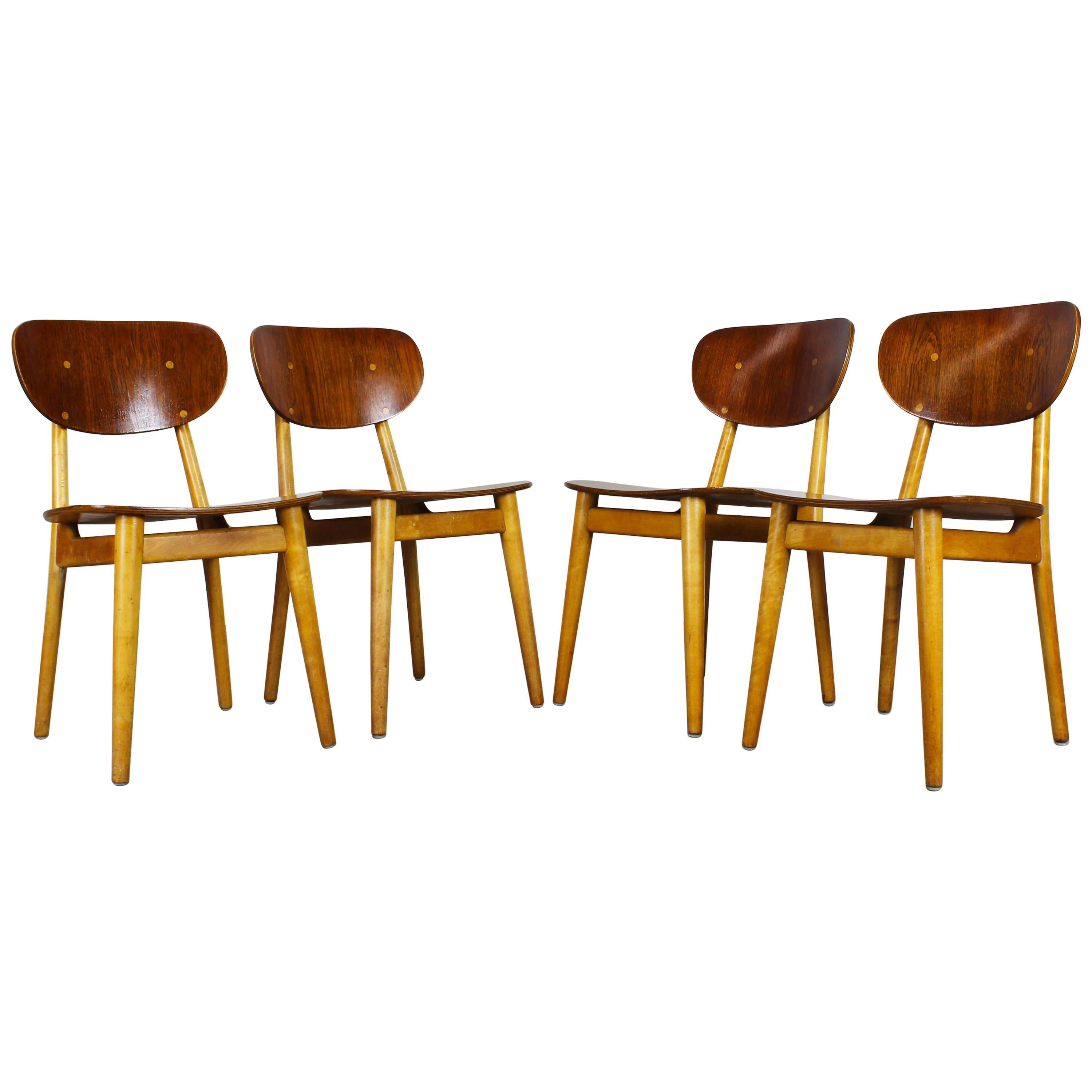 Set of four dining chairs sb11 by cees braakman for pastoe beech teak dutch for sale at 1stdibs