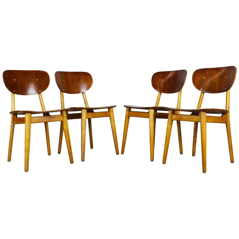 Set of Four Dining Chairs SB11 by Cees Braakman for Pastoe, Beech Teak Dutch