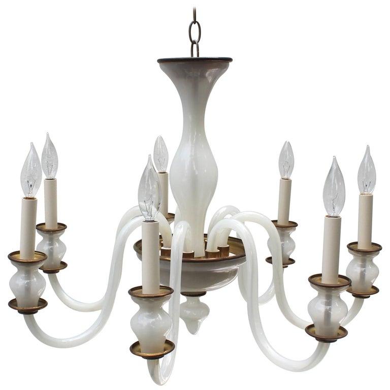 Murano milk glass chandelier at 1stdibs murano milk glass chandelier for sale aloadofball Images