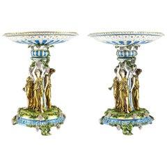 Pair of German Large Porcelain Figural Bacchantes