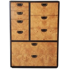 Milo Baughman Style Nine-Drawer Burled Olive Wood Gentleman's Chest
