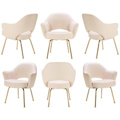 Saarinen Executive Arm Chairs in Bone Luxe-Suede, 24k Gold Edition, Set of Six