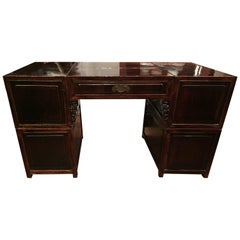 19th Century Q'ing Dynasty Six Part Elm Partner's Desk