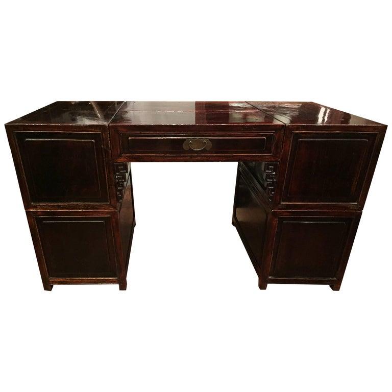 19th Century Q'ing Dynasty Six Part Elm Partner's Desk