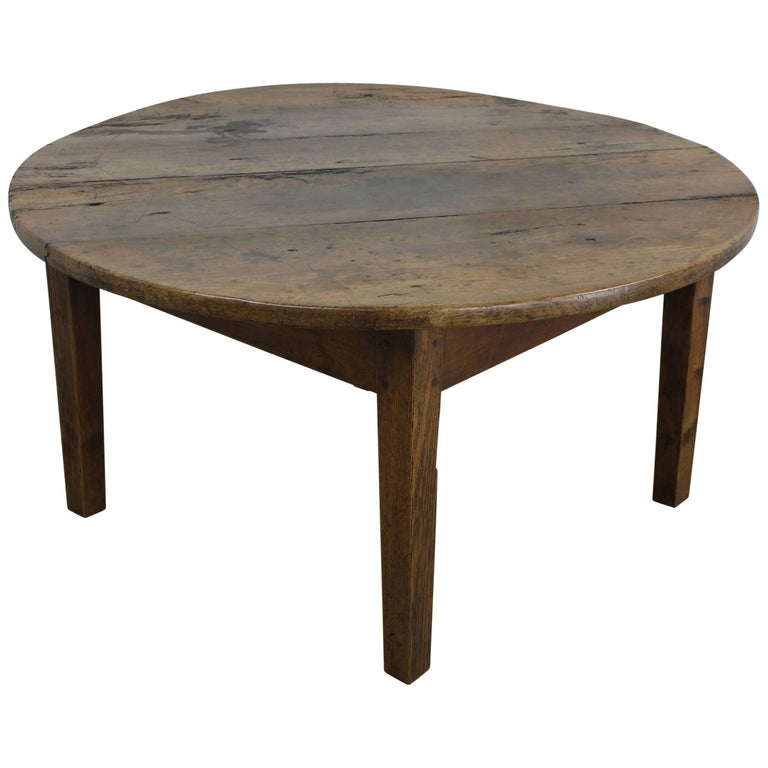 Rustic antique round french cherry coffee table at 1stdibs Rustic round coffee table
