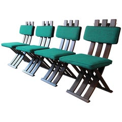 Harvey Probber Mid-Century Modern X-Base Dining Chairs, Set of Four