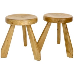 Pair of Sandoz Stools for Les Arcs Ski Resort Charlotte Perriand, France