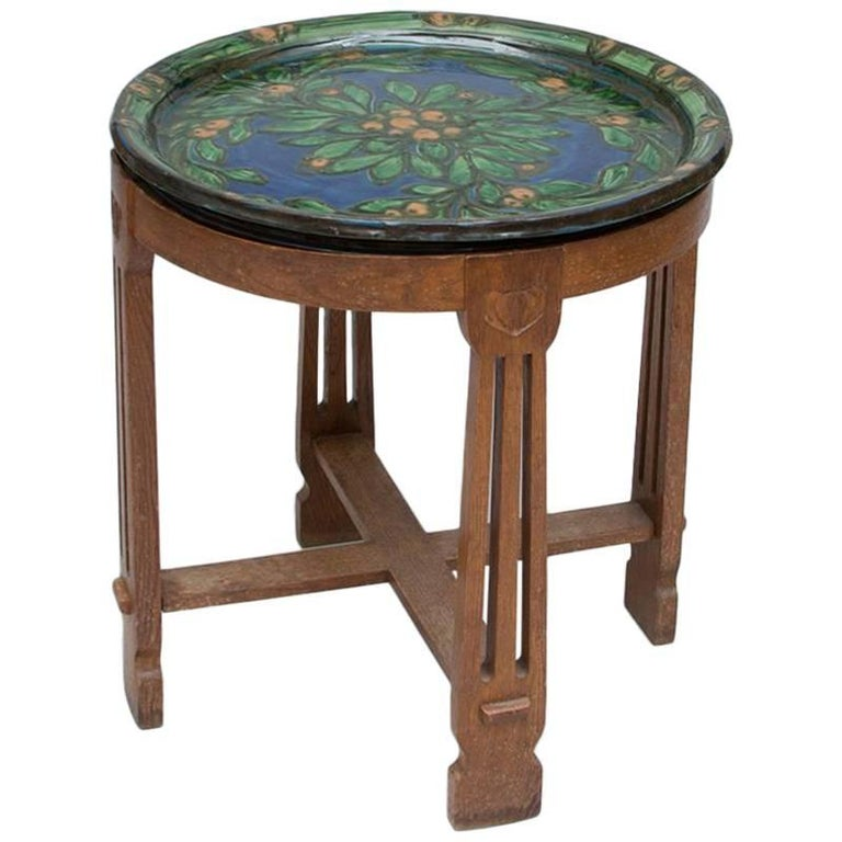 Arts & Crafts Carved Oak Table with Ceramic Top by Kähler For Sale