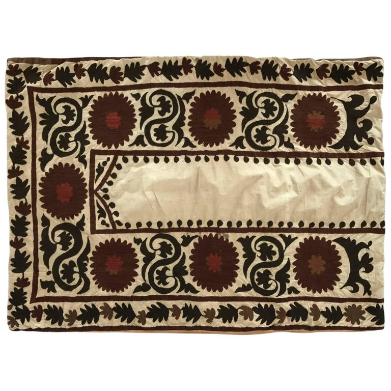 Oversized Suzani Embroidered Floor or Pet Pillow For Sale at 1stdibs