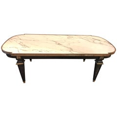 Louis XVI Style Hollywood Regency Ebonized Marble-Top Coffee Table by Jansen