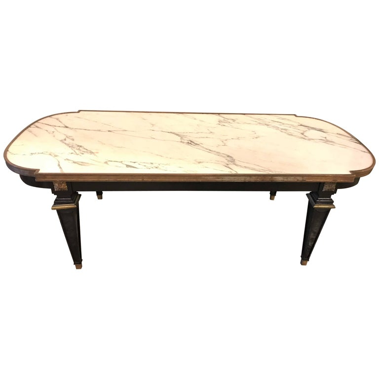 Louis XVI Style Hollywood Regency Ebonized Marble-Top Coffee Table by Jansen For Sale