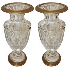 Wonderful Pair of French Empire Gilt Dore Bronze Fluted Crystal Ormolu Urn Vases