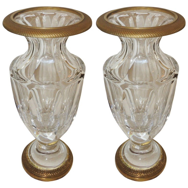 wonderful pair of french empire gilt dore bronze fluted crystal ormolu urn vases for sale at 1stdibs. Black Bedroom Furniture Sets. Home Design Ideas
