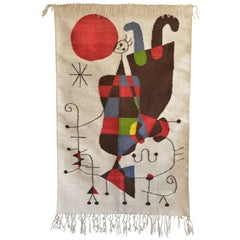 'Upside Down Figures' tapestry in the style of Miro