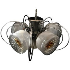 Mazzega Murano chandelier with 5 bowl light with chrome frame ,1960s