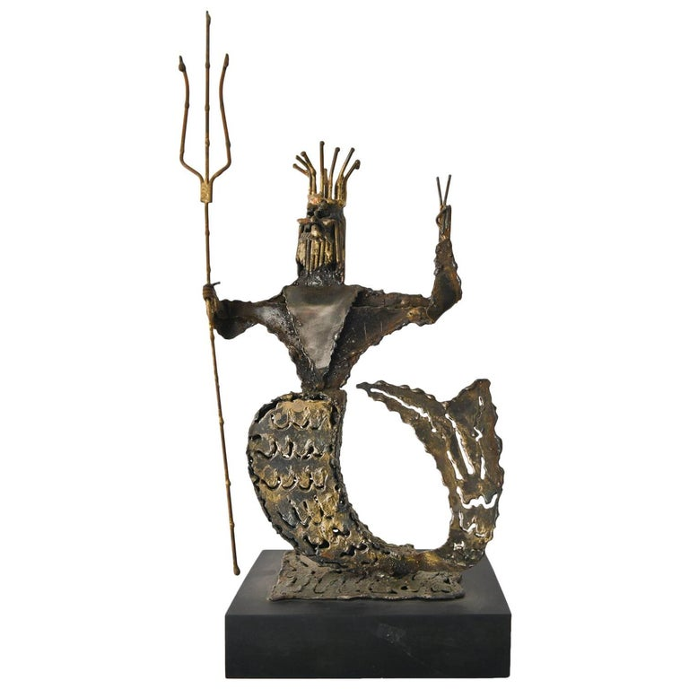 Metal Neptune Sculpture by California Artist Jack Hanson, circa 1965 For Sale
