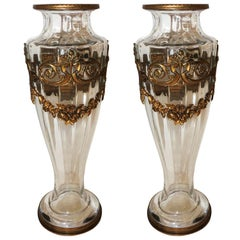 Wonderful Pair of French Gilt Dore Bronze Ormolu-Mounted Crystal Glass Urn Vases