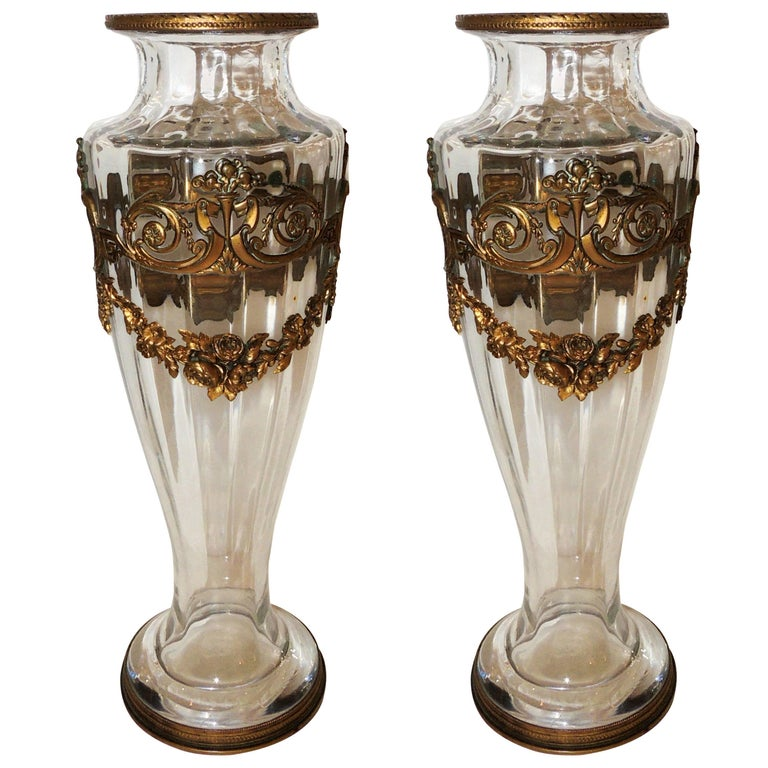 wonderful pair of french gilt dore bronze ormolu mounted crystal glass urn vases for sale at 1stdibs. Black Bedroom Furniture Sets. Home Design Ideas