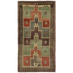 Vintage Turkish Oushak Gallery Rug with Modern Tribal Style