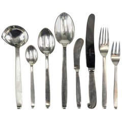 Five-Piece Flatware Service for Eight by Evald Nielsen Danish Silver, Pattern 29