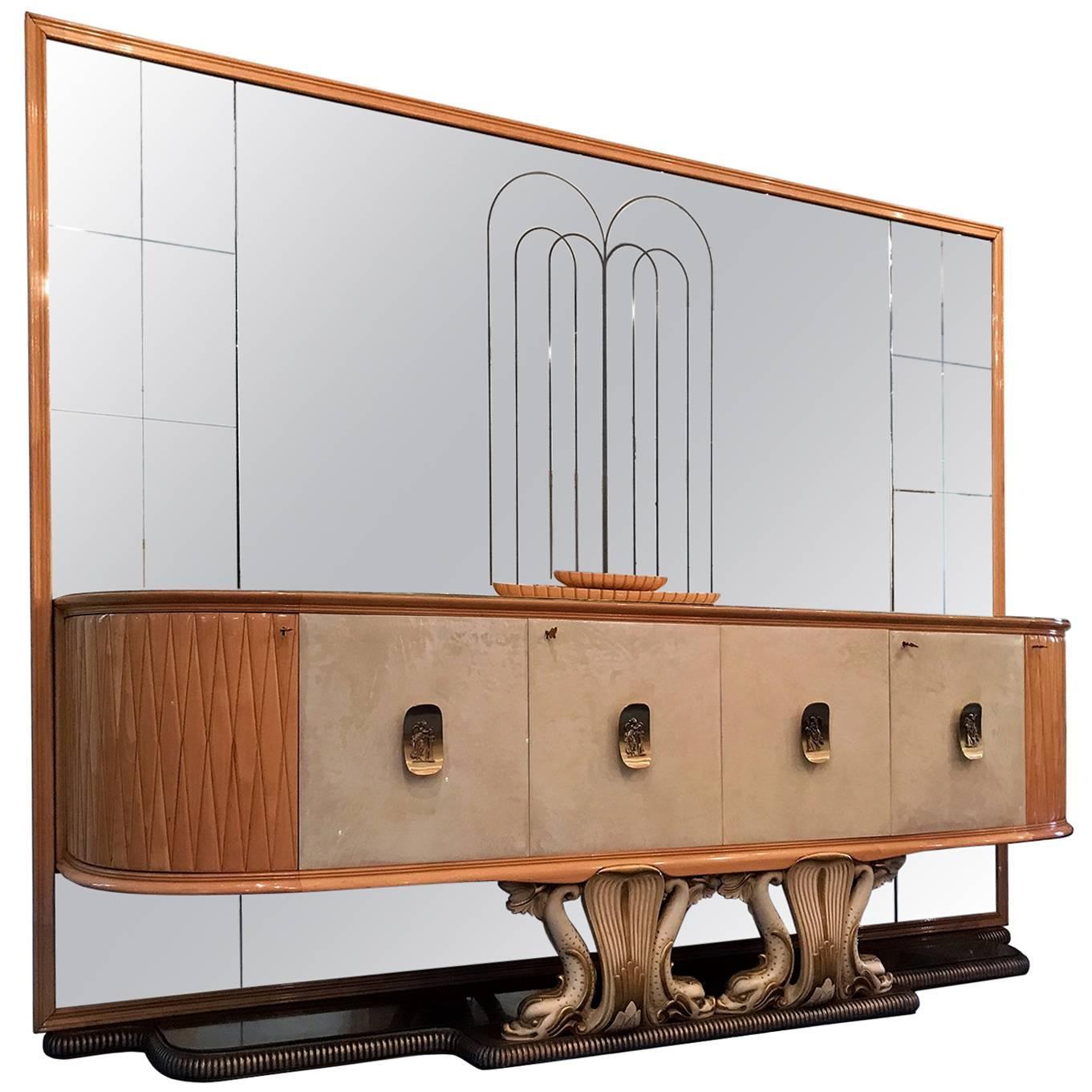 Italian Mid-Century Mirrored Sideboard by Osvaldo Borsani, 1940s