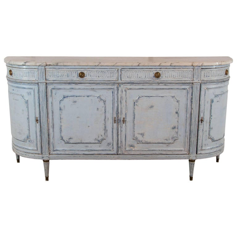 19th Century French Demi Lune Chest Buffet Louis XVI Gustavian Style Marble Top