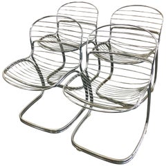 Four Italian Gaston Rinaldi Sabrina Chrome Chairs with Custom Cushion