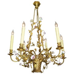 French Belle Époque Louis XV Style Gilt-Bronze and Porcelain Basket Chandelier