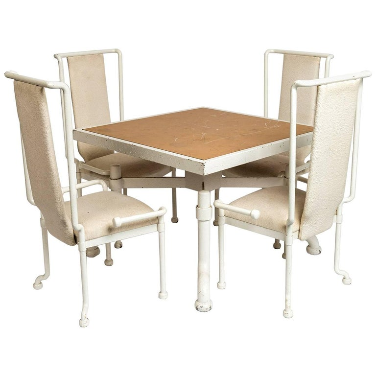 Set of eight 1970 white painted cast iron tables and for 1970 dining room set
