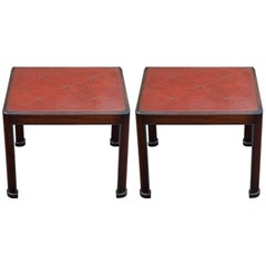 Stunning Pair of Tommi Parzinger for Charak Leather Top End Tables