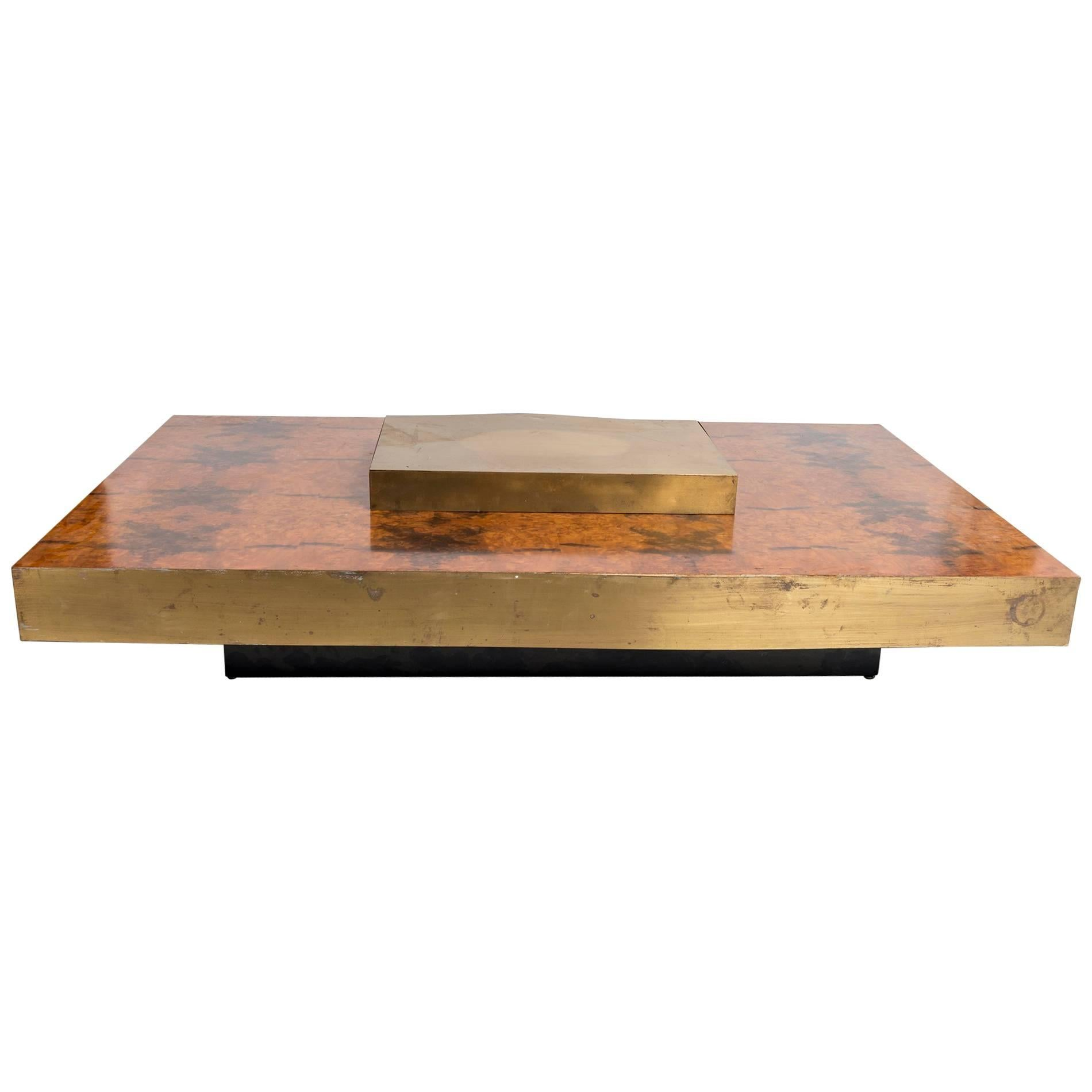 Rectangular Low Brass Center Wooden Coffee Table With Brass Trim For Sale