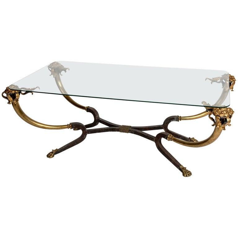 Brass Glass-Top Coffee Table