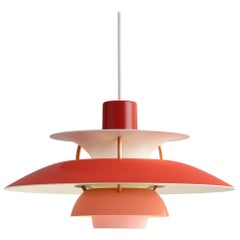 Poul Henningsen Red PH5 Mini Pendants for Louis Poulsen