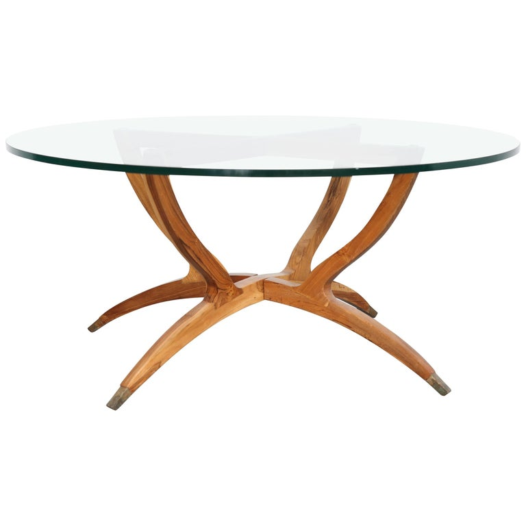 Mid Century Modern Solid Walnut Spider Leg Glass Top Coffee Table At 1stdibs