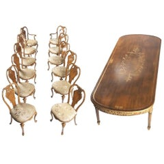 Italian Parcel-Gilt Walnut Dining Set with 12 Chairs