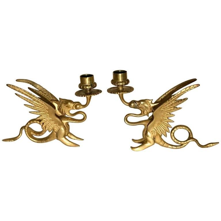 Gilt Pair of Griffin Motif Chamber Sticks