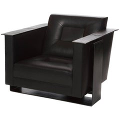 Domito Club Chair Upholstered Leather Cast Bronze Armrests Steel Contemporary