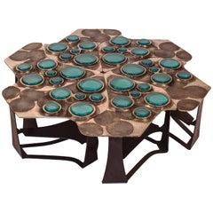Tiberinus Coffee Table Cast Bronze Cast Glass Insert Steel Tessellation