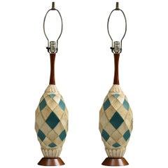 Retro Jo-Wallis Ceramic and Walnut Table Lamps