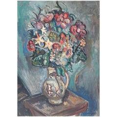 Still Life on Canvas, Flowers in Vase by Pinchus Kremenge