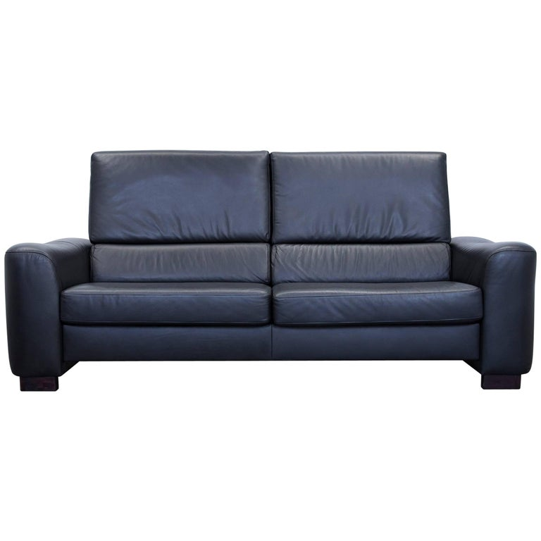 ewald schillig designer sofa leather black three seat couch modern for sale at 1stdibs. Black Bedroom Furniture Sets. Home Design Ideas