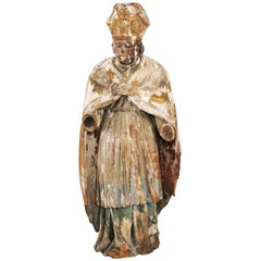 French 18th Century Carved Statue of a Bishop with Traces of Polychrome and Gilt