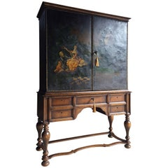 20th Century Cocktail Cabinet Oil Painting Canvas Covered Solid Oak
