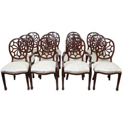 Bespoke Set of 12 English Spyder Back Mahogany Dining Chairs