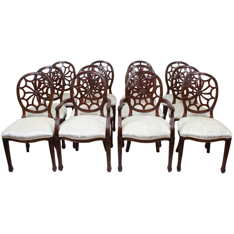 Bespoke Set of 12 English Spyder Back Mahogany Dining Chairs