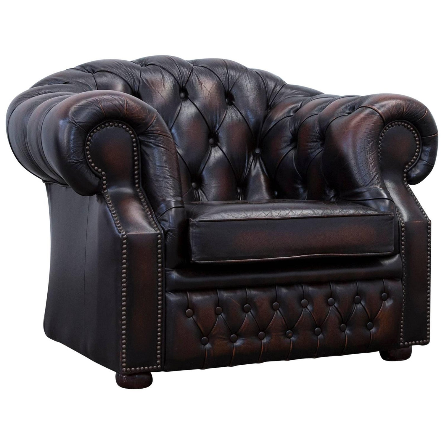 White chesterfield chair - Chesterfield Armchair Leather Brown One Seat Couch Vintage Retro